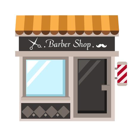 awnings windows: barber shop vector illustration on white background