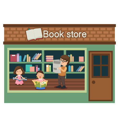 awnings: book store vector illustration on white background