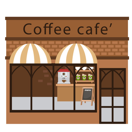 convenient store: coffee restaurant vector illustration on white background Illustration