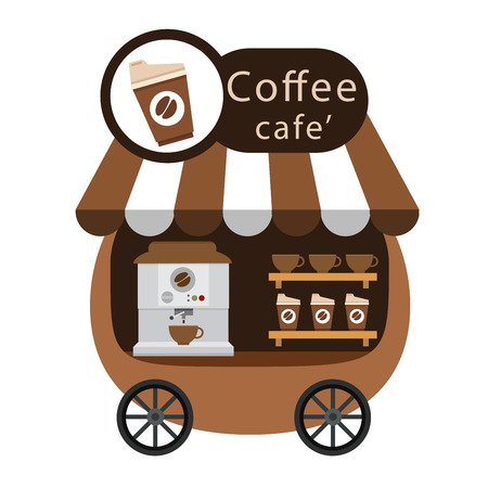 cart stall and coffee vector illustration on white background