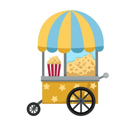 palomitas de maiz: cesta establo y la ilustraci�n vectorial de palomitas de ma�z en el fondo blanco Vectores