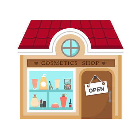 business fashion: cosmetics stores vector illustration on white background Illustration