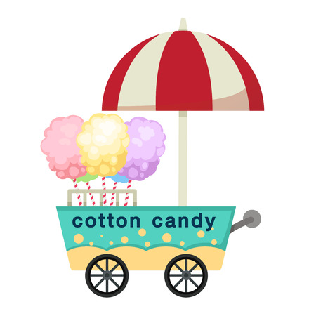 cart stall and cotton candy vector illustration on white background Vettoriali