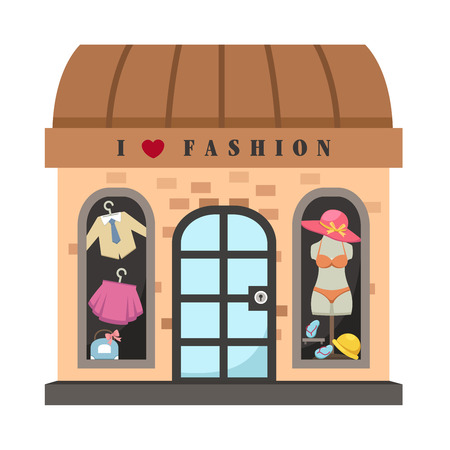 awnings: Clothing store vector illustration on white background