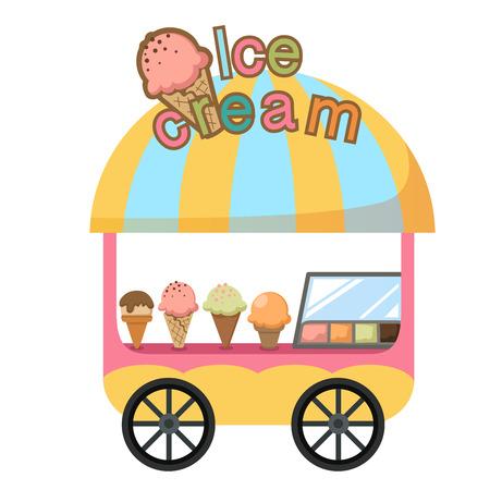 carretto gelati: cart stallo e una illustrazione vettoriale gelato su sfondo bianco