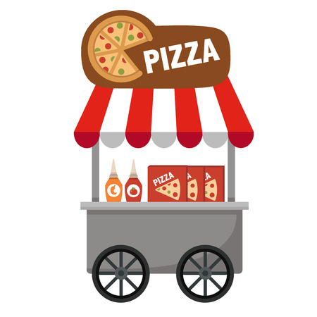 bake sale sign: cart stall and pizza vector illustration on white background