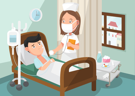 The nurse taking care of patient in the ward of hospital . Vector
