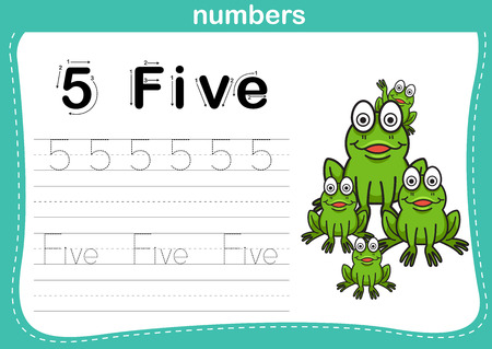 tracing: Connecting dot and printable numbers exercise with lovely cartoon for preschool and kindergarten kids illustration, vector Illustration
