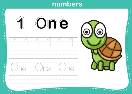 practice: Connecting dot and printable numbers exercise with lovely cartoon for preschool and kindergarten kids illustration, vector Illustration
