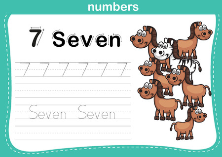 kindergarten: Connecting dot and printable numbers exercise with lovely cartoon for preschool and kindergarten kids illustration, vector Illustration