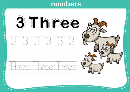 Connecting dot and printable numbers exercise with lovely cartoon for preschool and kindergarten kids illustration, vector Vector