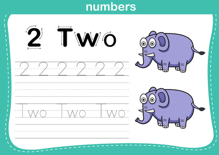 tracing: Connecting dot and printable numbers exercise with lovely cartoon for preschool and kindergarten kids illustration