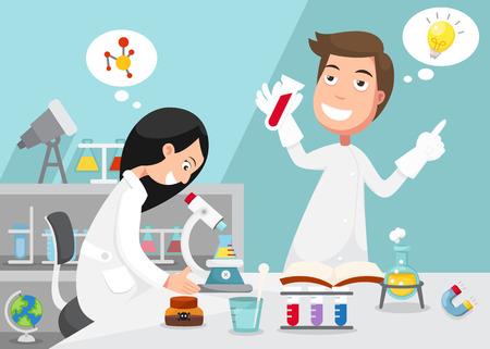 experimento: Los científicos que experimento rodeado de equipos de laboratorio. Vectores