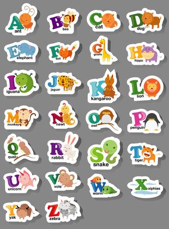 illustration of animal alphabet letter a-z