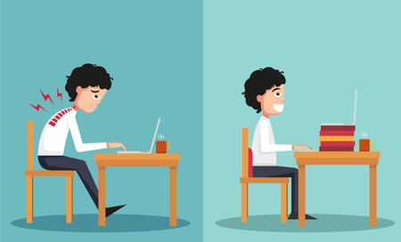 good and bad: illustration of the sample of the guy sitting in wrong and right ways Illustration