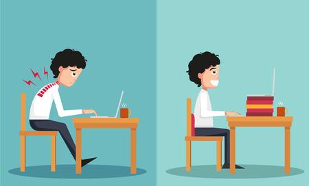proper: illustrazione del campione del ragazzo seduto in modi sbagliati e sinistro