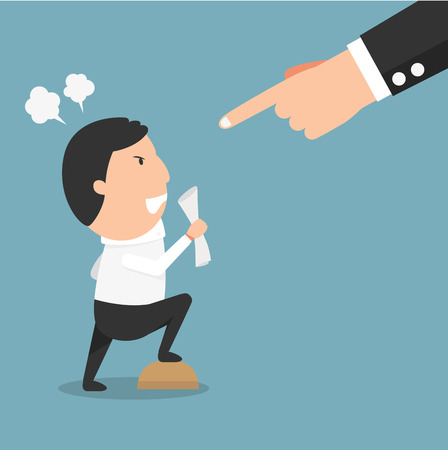 Angry boss-the man having serious argument with his boss.illustration vector