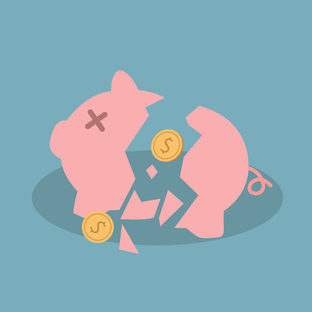 broken: Broken piggy bank. Illustration