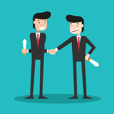 illustration of two-faced guys shaking hands in the business world