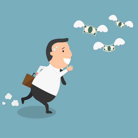 money flying: El hombre de negocios fracasan y dinero volando - el concepto del hombre estar en la ruina
