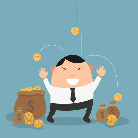 money rain: Businessman enjoying it raining money-the concept of the man who hits jackpot