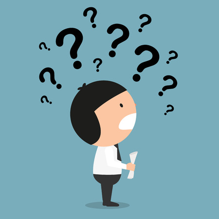 question concept: business thinking with question marks