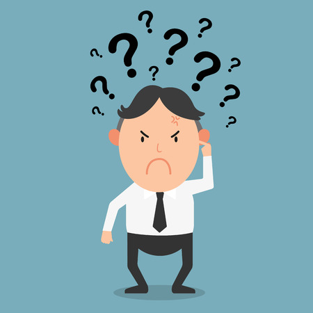 rational: business thinking with question marks,illustration vector
