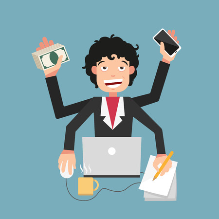 busy life: illustration of busy life of businessman Illustration