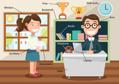 working in office with related vocabulary index illustration  Vector