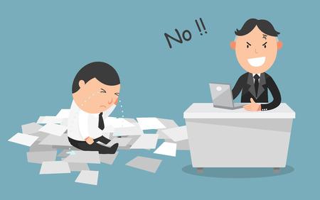 patron: El trabajo del empleado fue rechazado por su boss.illustration, vector