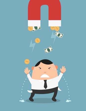 strong magnetic field: The concept of money being gone so fast from spending habits of the man.illustration,vector