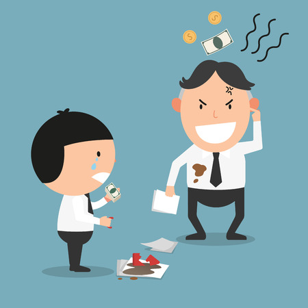 tempt: The man feels cheated after he paid compensation.illustration,vector
