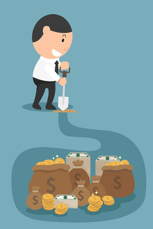 wealthy man: The concept of money and wealthy will come to you if you work hard enough.illustration,vector