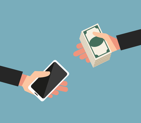 swapping: The concept of swapping money for mobile phone.illustration,vector