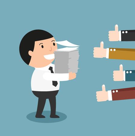Feedback-mensen geven de man thumbs-up voor zijn goede werk illustratie, vector Stock Illustratie