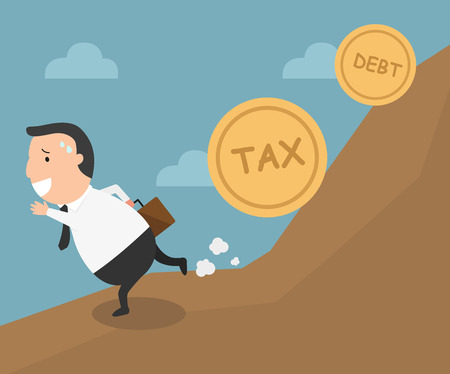 run away: The employee tries to run away from tax and debt.illustration, vector