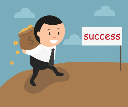 uphill: The concept of the success can make you rich and wealthy. illustration, vector