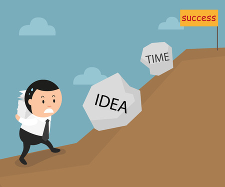 uphill: The obstacles on the way to be successful are idea and time. illustration, vector