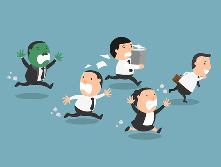 angry boss: The employees running away from their bad boss.illustration, vector