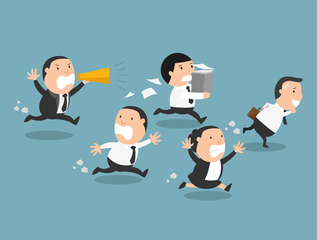 angry cartoon: The employees running away from their bad boss.illustration, vector
