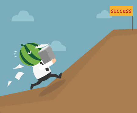 uphill: The concept of the success, vector illustration