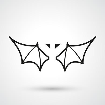 wings icon: Illustrazione di pipistrello ali vettore icona
