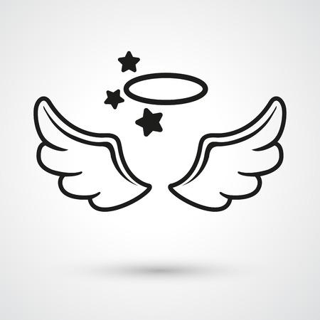 paloma caricatura: Ilustraci�n de las alas del icono del vector