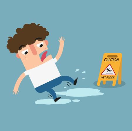 slip homme: Illustration de la chaussée humide isolé prudence sign.Danger de glisser