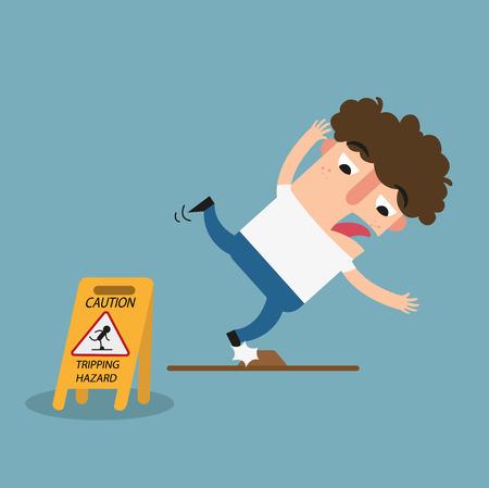 Illustration of isolated tripping hazard caution sign.Danger of stumbling Illustration
