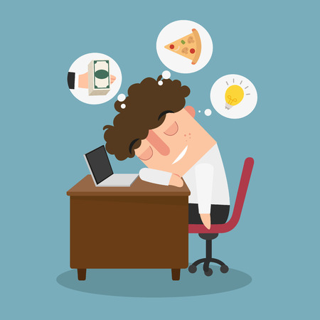 Illustration of the guy is daydreaming while working Stock Illustratie