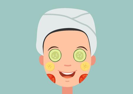 perfect face: Illustration of isolated a girl with face mask relaxing vector Illustration