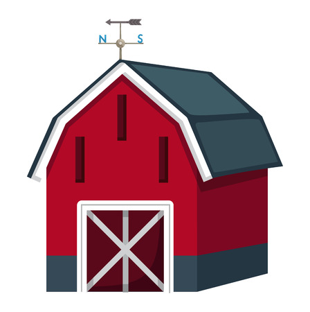 barn door: Illustration of isolated barn house on a white background