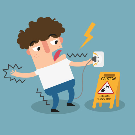 Illustration of isolated Electric shock risk caution sign.