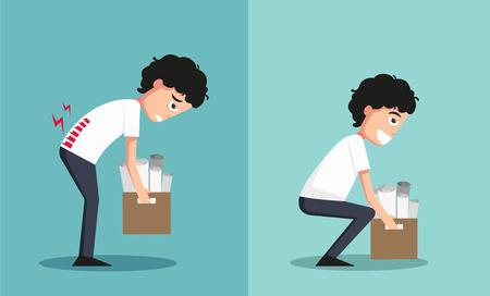 accidente trabajo: Ilustración de aislados inadecuada frente contra la elevación adecuado